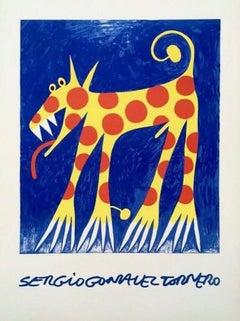 Wolf, 1970s Litho on Arches paper, Sergio Gonzalez Tornero