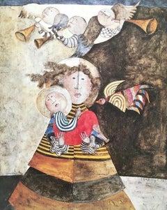Madone aux Trois Anges, Original Lithograph, Graciela Boulanger