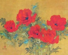 Poppies, Original Lithograph, David Lee