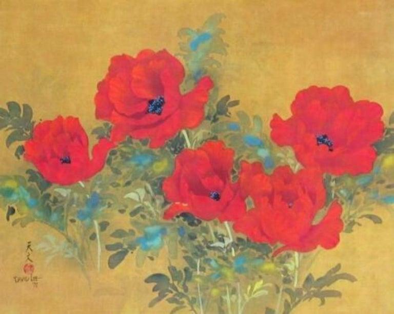 Poppies, Original Lithograph, David Lee - Print by David Lee
