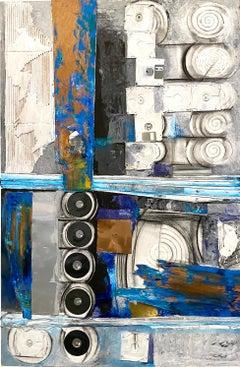 """Buddha Footprint I,"" Mixed Media and Acrylic on Wood - Abstract Painting"