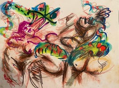 """""""A Big Snake and Three,"""" Mixed Media on Paper - Expressive Drawing"""