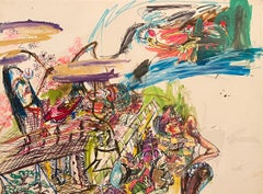 """""""Princess Is Welcoming a Crane,"""" Mixed Media on Paper - Expressive Drawing"""