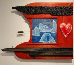 """Passion,"" Acrylic Paint, Wood Elements, Icepick and Painted Plaster Heart"