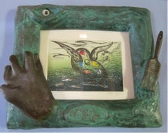 """""""Pre-Rome,"""" Etching on Paper in  Cast Bronze Frame with Glass Eye"""