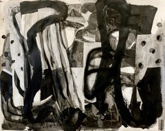 """""""Composition,"""" Mixed Media on Paper - Black and White work on paper"""