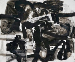 """""""Composition V,"""" Mixed Media on Paper - Black and White work on paper"""