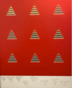 """""""Nine Forms (Red),"""" Acrylic, Gold and Silver Leaf on Canvas - Minimalist"""