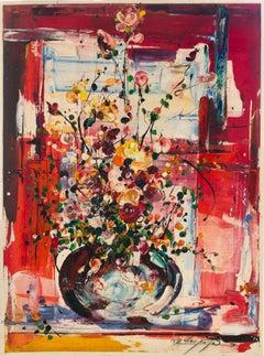 Binyamin Basteker, Jerusalem window (Jerusalem flower series) oil on canvas