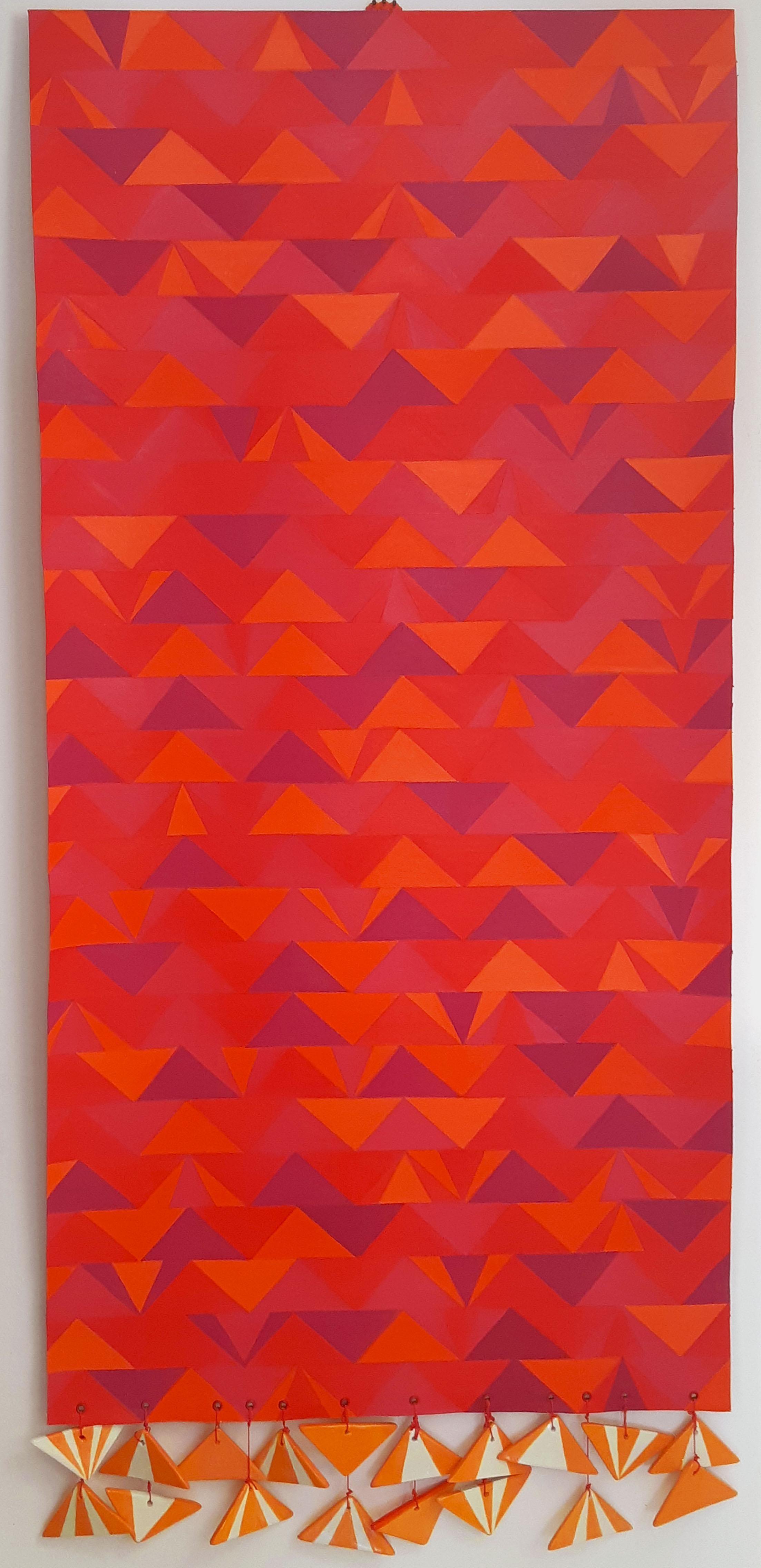 Polly Tessler,  Sunrise ,2019  oil  acrylic on canvas w/hand made ceramic tiles