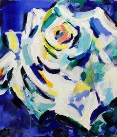 Masha Potapenkova, White Rose, 2018, oil on canvas, 70 x 60 cm (27x23 in)