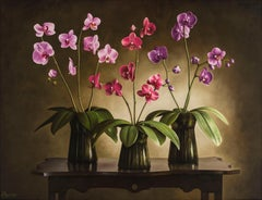 Albert Benaroya (Israeli), Three Orchids, oil on canvas, 89x116 cm