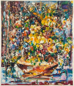 Binyamin Basteker, Sabbath flowers I, (Jerusalem flowers series) oil on canvas