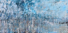 Dubi Ronen, Blue lake , 2020 cement and pigment on canvas