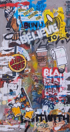"""Shlomo Hauser, """"Believe"""", acrylic, spray paint and collage on concrete and wood"""