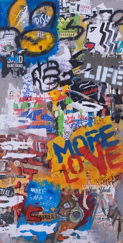 """Shlomo Hauser, """"More Love"""", acrylic, spray paint, collage on concrete and wood"""