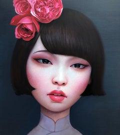 Beijing Girl - Red Flower - Chinese Portrait