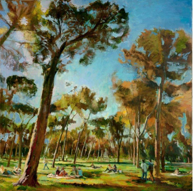 Garden in Rome- Representational, Light-Driven Landscape Painting, Oil on Linen