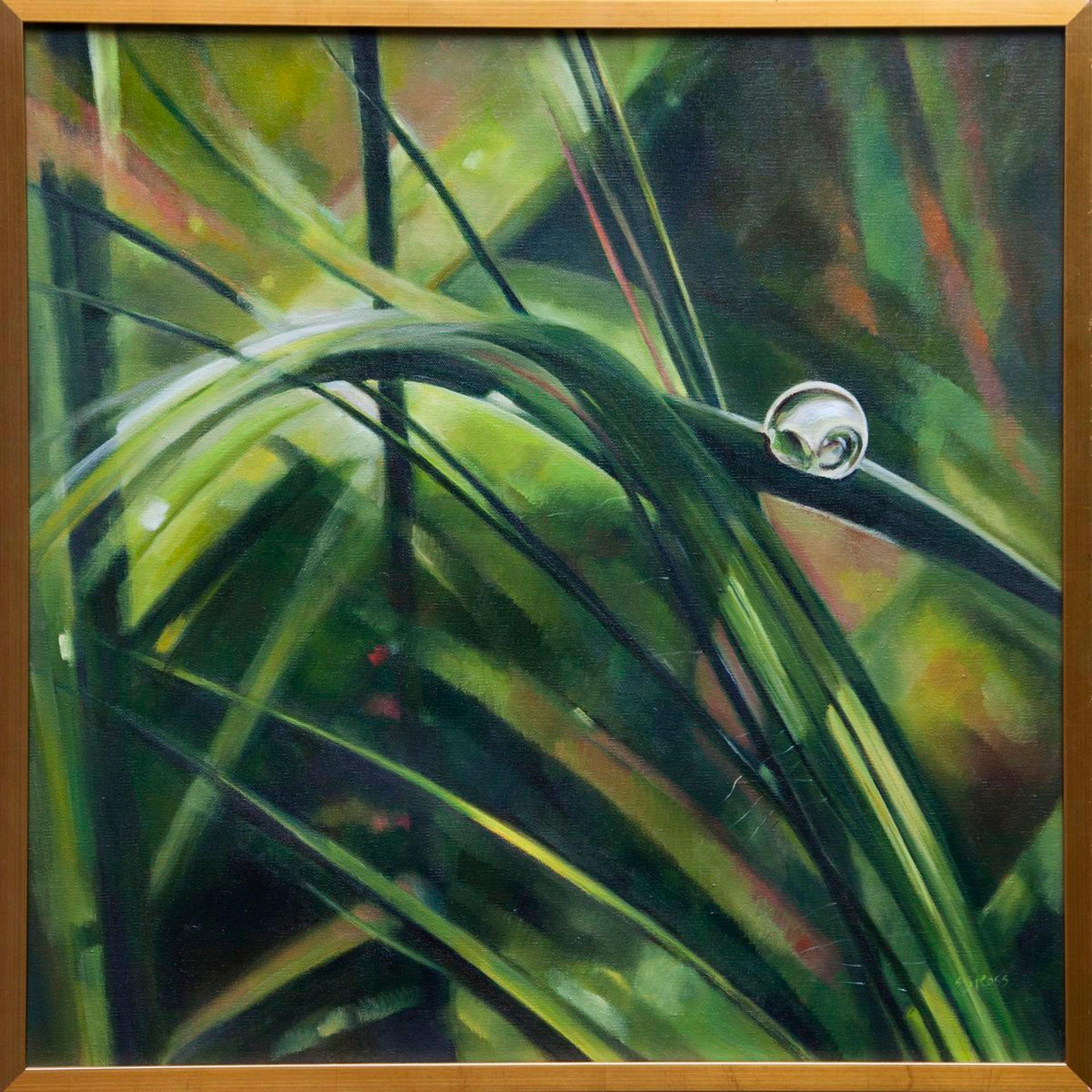 Pasture After Rain- Zoom View Nature Still Life Painting, Oil on Canvas in Frame