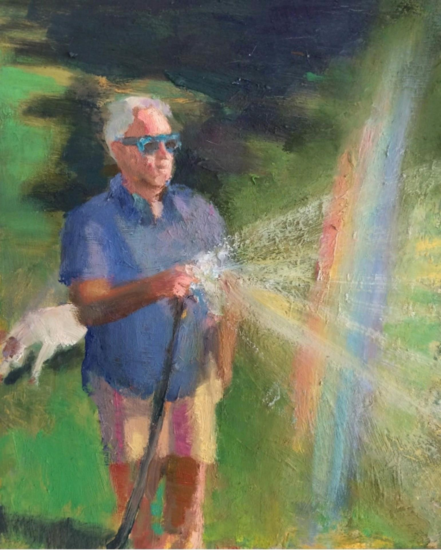 Backyard Rainbow- Portrait in Nature Painting, Oil on Linen in Frame