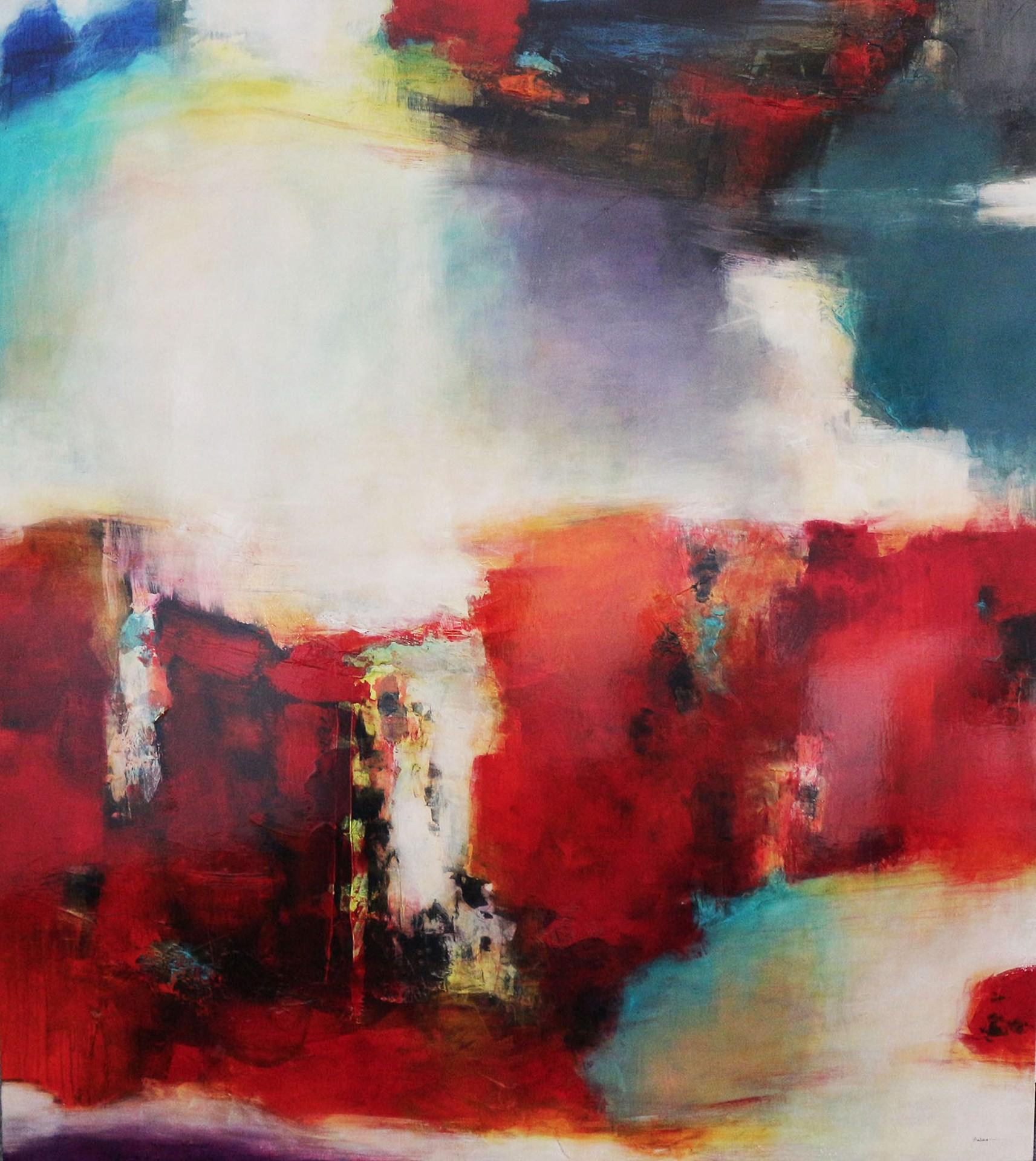 Apparition of Emotions- Abstract Red & Primary Toned Glossed Oil on Canvas