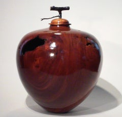 Hollow Vessel w/ Apple Tree Twig Lid- Hand Carved Glossed Golden Mahogany Vessel