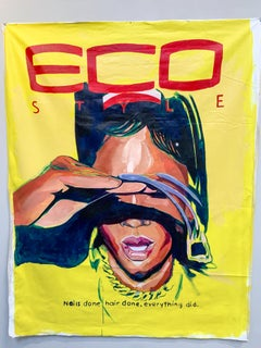 Eco Style- Yellow Pop Art Portrait, Acrylic & Oil on Unstretched Canvas