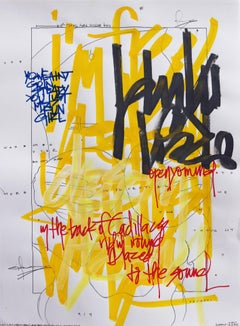 Goin' Steady- Bold Yellow Graphic Text Marker, Pen & Pencil on Paper
