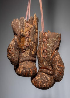 Grandma's Hands- Hand Embellished Hanging Boxing Gloves, Mixed Media Sculpture