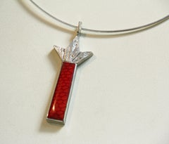 """Firework,"" Geometric C-stretch necklace in sterling with enameled red pendant"