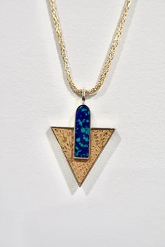 """Secret Garden,"" pendant necklace in sterling with 24ct gold azurite-malachite"