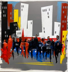 """Elegy I,"" Contemporary figurative streetscape, acrylic and oil on canvas"