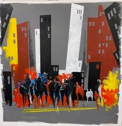 """Elegy II,"" Contemporary figurative streetscape, acrylic and oil on canvas"