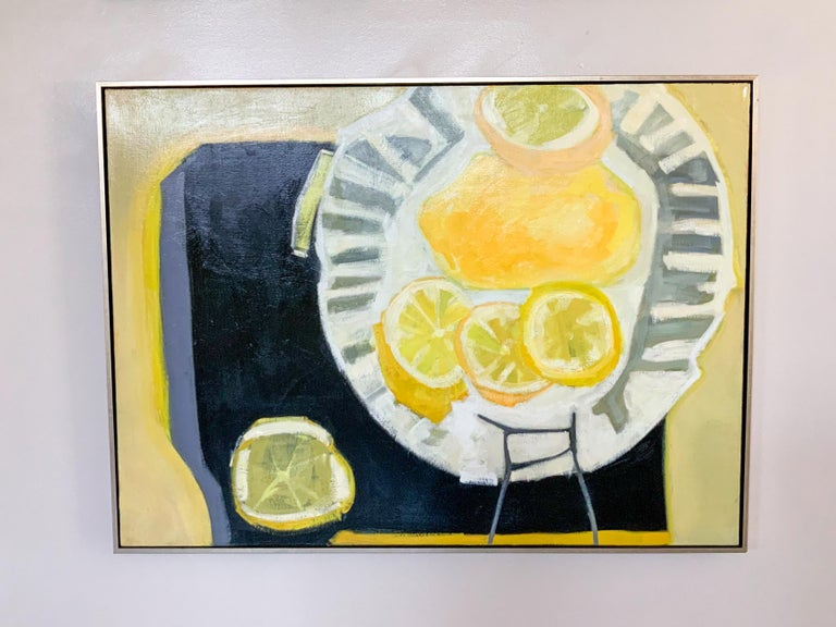 Big Lemon - Vibrant Contemporary Still Life, Oil Painting on Canvas in Frame - Beige Still-Life Painting by Kathleen Craig
