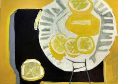 Big Lemon - Vibrant Contemporary Still Life, Oil Painting on Canvas in Frame