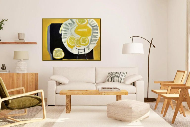 Big Lemon - Vibrant Contemporary Still Life, Oil Painting on Canvas in Frame For Sale 1