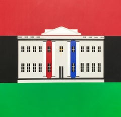 The Black / White House, Contemporary Political Square Painting: Red Green Blue