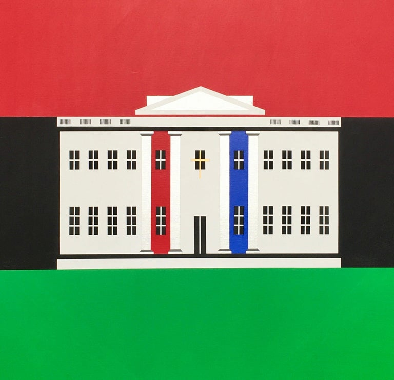 Milan Tiff Landscape Painting - The Black / White House, Contemporary Political Square Painting: Red Green Blue