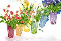 """Elevating Rainbow Tulips"" by Gary Bukovnik, Watercolor, 2018"