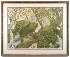 """""""Raptor Rapture"""" by Janet Turner, Serigraph, 1976"""