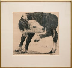 """""""Study of a Calf"""" by Janet Turner, Lithograph, c. 1956"""