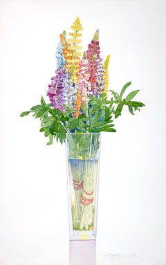 """""""Lupine in a Tall Vase"""" by Gary Bukovnik, Watercolor, 2018"""