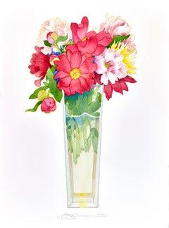 """Peonies in a Tall Vase"" by Gary Bukovnik, watercolor, 2019"