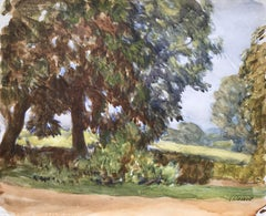Sunlight through the trees, Impressionist watercolour by Sir George Clausen
