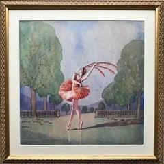 Art Deco portrait of ballerina Alexandra Danilova in Stravinsky's Firebird