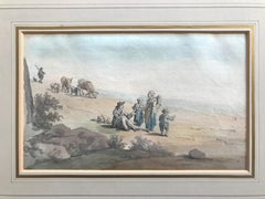 Attributed to Peter Le Cave, 18th Century watercolor on laid paper, rustic scene