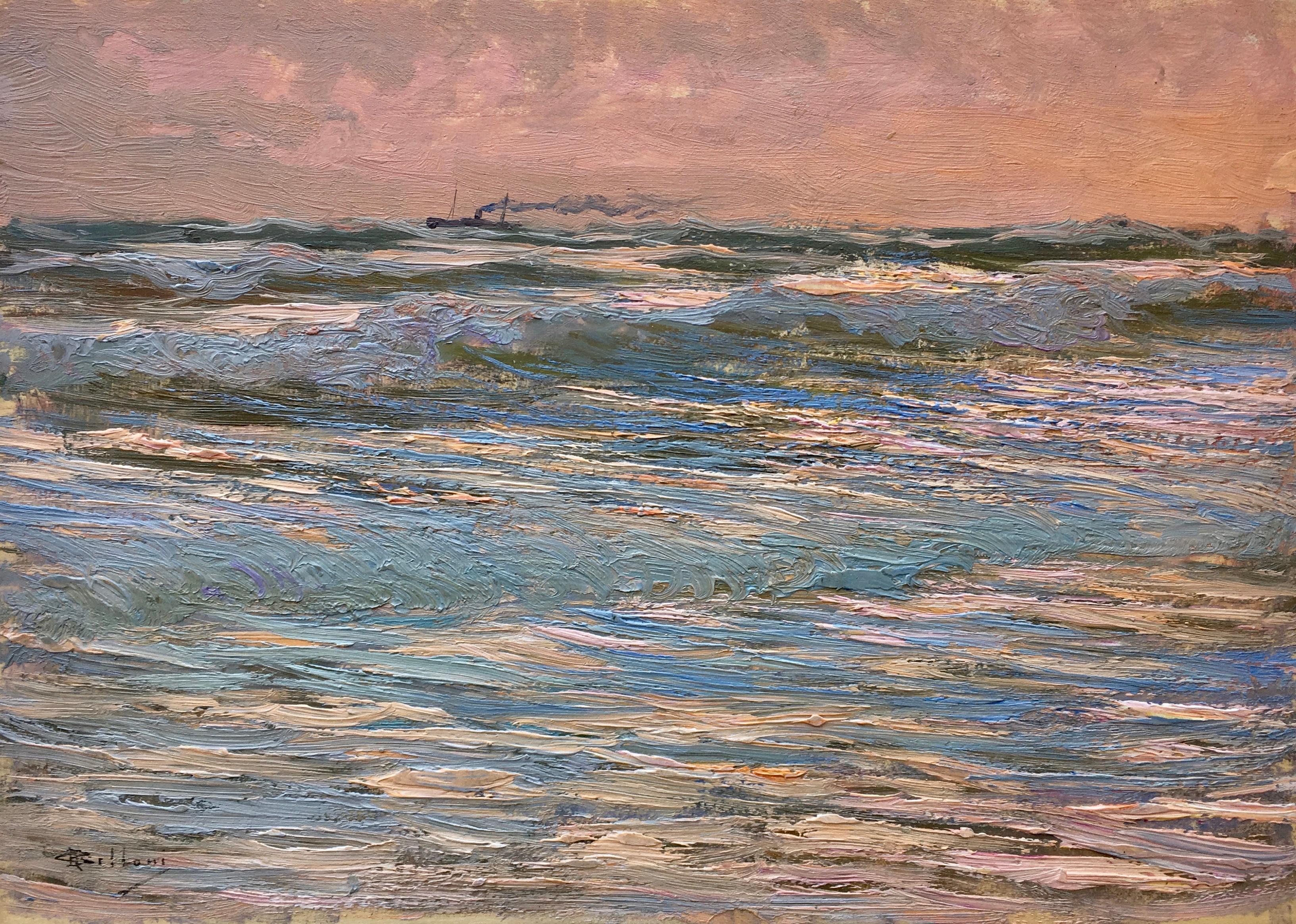 Giorgio Belloni, Italian Impressionist, plein air seascape on the Ligurian coast
