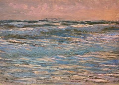 George Belloni, Italian Impressionist, plein air seascape on the Ligurian coast