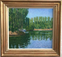 George Devlin, Impressionist view of Limetz on the Seine, near Giverny, France