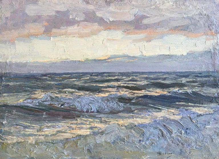 Giorgio Belloni, Italian Impressionist, plein air seascape, Ligurian coast - Gray Landscape Painting by Giorgio Belloni